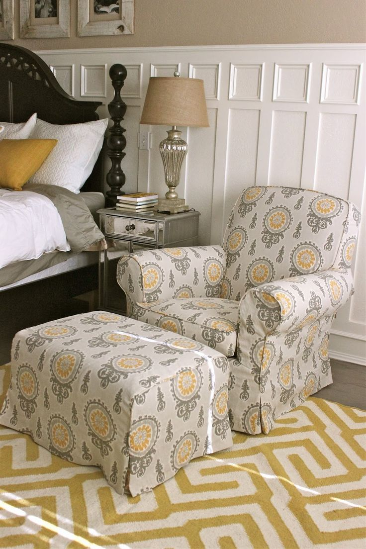Custom Slipcovers By Shelley: Gray/Yellow Bedroom Chair And Ottoman