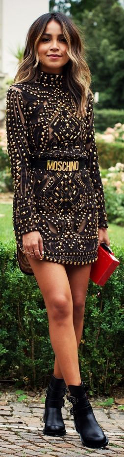 Emilio Pucci Black Studded Tulle Stretch Mini Dress by Sincerely Jules