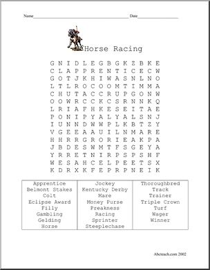 Word Search Horse Racing