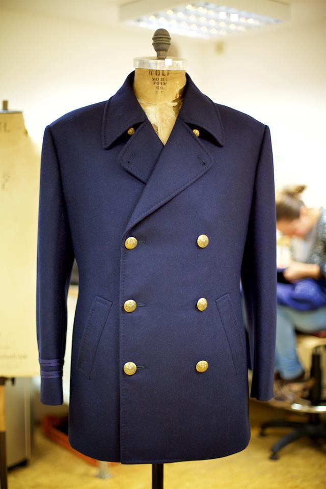 A classic double-breasted Naval Pea Coat in 27 oz (840 g) wool coating from Holland & Sherry.