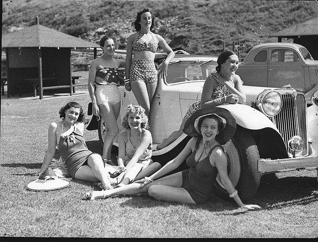"""The Women"" Co. girls on Tamarama beach, 2 February 1939 / photographer Sam Hood, via Flickr."