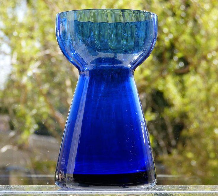 Vtg HOLMEGAARD Art GLASS Cobalt BLUE Rib OPTIC Hyacintglas HYACINTH VASE Denmark