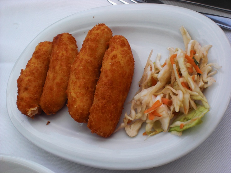 Cheese Croquets and Coleslaw, Athitos, Greece