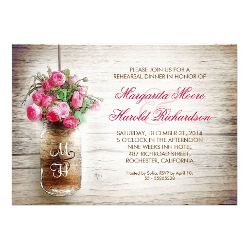 mason jar and pink flowers rustic rehearsal dinner invitations