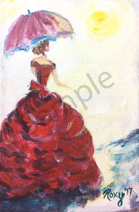 """Victorian Lady with Parasol Original Painting by Roxy Rich - <p>Beautiful Lady in a Red Victorian Dress with Parisol</p>    <p>The original is 4 x 6 inches. I am creating a series of them and they make amazing prints!</p>    <p>The original is for sale in my Etsy Shop until it gets sold either there or in person.</p>    <p>Access it by choosing """"Miniatures"""" from the drop down menu under More in the navigation bar.</p>    <p>Or, grab a custom sized print here!</p>"""