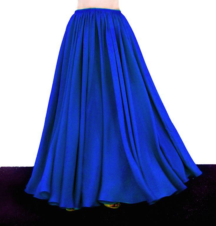 Ameynra fashion full circle skirt blue chiffon All Sizes from S to 3XL