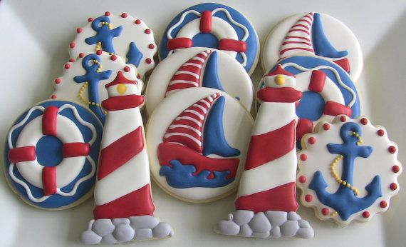 One Dozen Nautical Decorated Sugar Cookies by DolceDesserts, $36.00