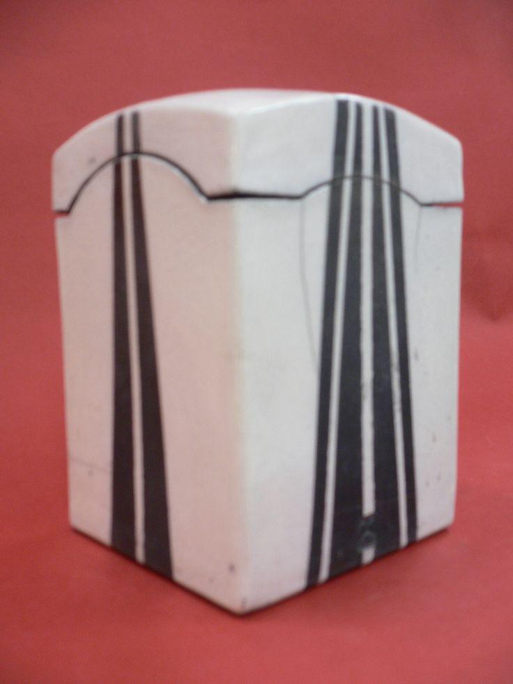 Linear Variations. Lidded Raku Box.