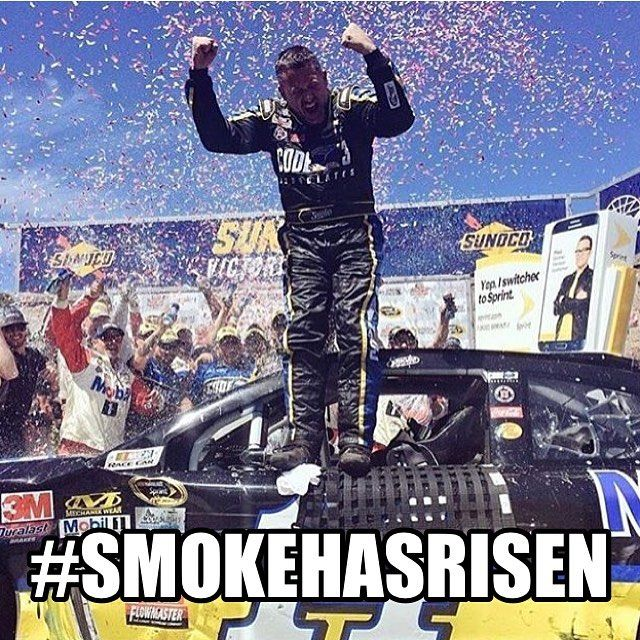 Not a Stewart fan but....It was a long 84 races wasn't it... A long time... Going through so much adversity (the dirt track incident, multiple injuries) to finally get back to victory lane! Welcome back, Smoke! You've risen! #NASCAR #NASCARMemes #SmokeHasRisen