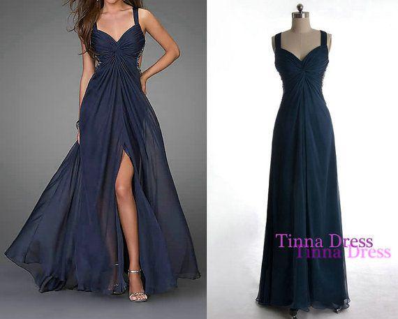 Blue prom dress sequin long prom gown evening dress by TinnaDress