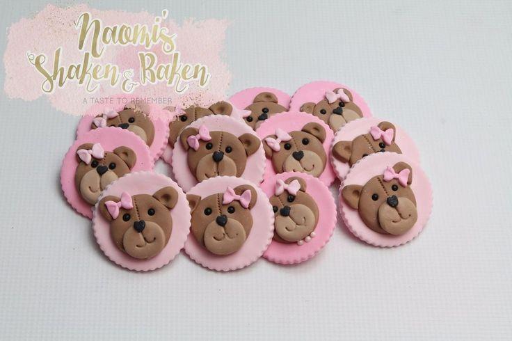 12x Edible Teddy Bear Girl Boy Birthday Fondant Cupcake Toppers #BirthdayBabyShower