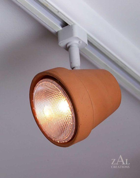 pista de luz cazuela de barro de la maceta jefe de pista track lightinglighting ideaslamp