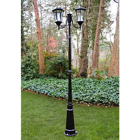 "Victorian 87"" High Solar-Powered LED 2-Light Post Light"