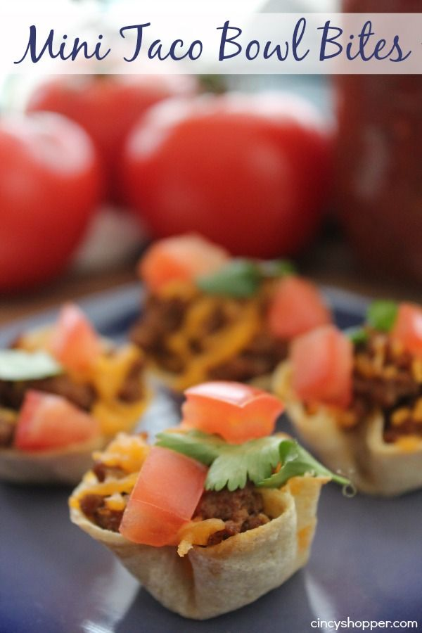 Mini Taco Bowl Bites- Taco in a bite sized bowl. So simple. Perfect for the upcoming holiday entertaining!