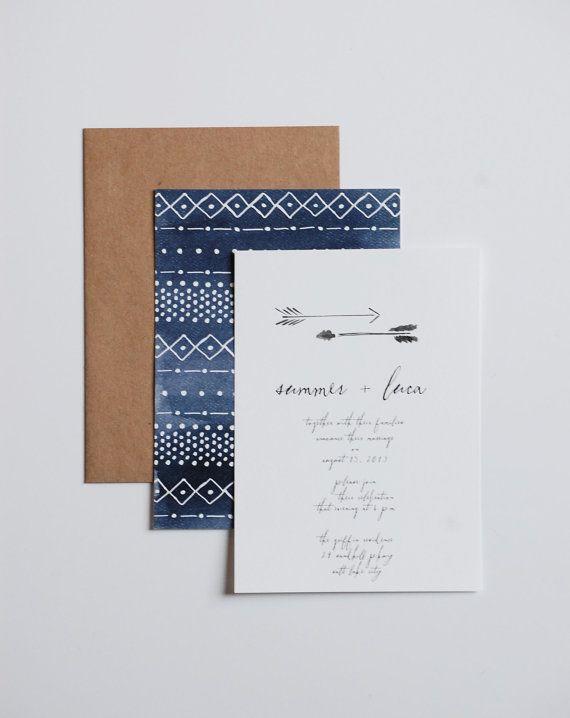 111 best geometric invitations images on pinterest weddings watercolor tribal wedding invitation with arrows stopboris Images
