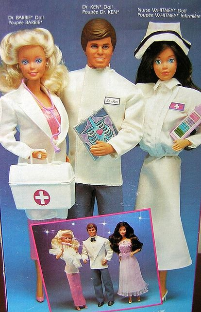 Nurse Whitney, Dr. Barbie and Dr. Ken, 1987. Notice that Nurse Whitney is still wearing an out-of-date nursing cap, even in the late 1980s. Are the ugly neon colored 'prom look' clothes and big hair styles sold separately?