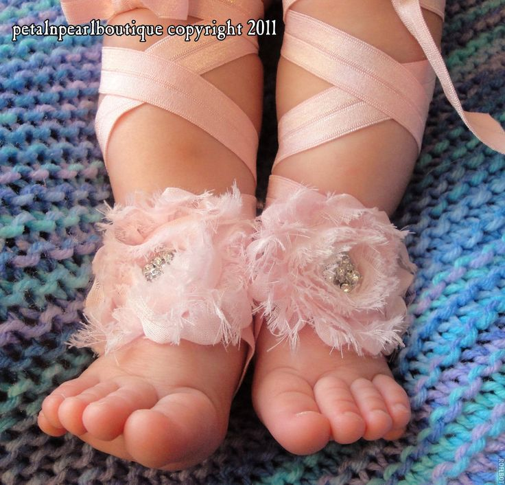 Baby Shoes, Baby Barefoot Sandals, Baby Sandals, Barefoot Baby Sandal, Barefoot Blossom (TM) Couture Lalani in Pink Chiffon. $20.50, via Etsy.