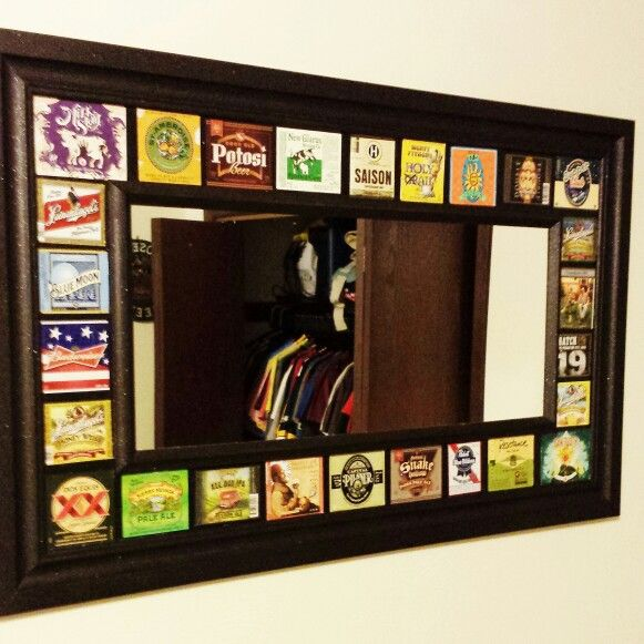 Beer label mirror