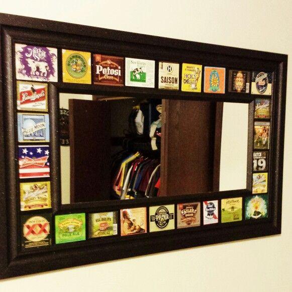 Beer label mirror
