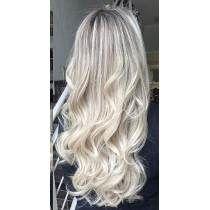 Aplique Tictac Cabelo Mega Hair Loiro Platinado Ondulado