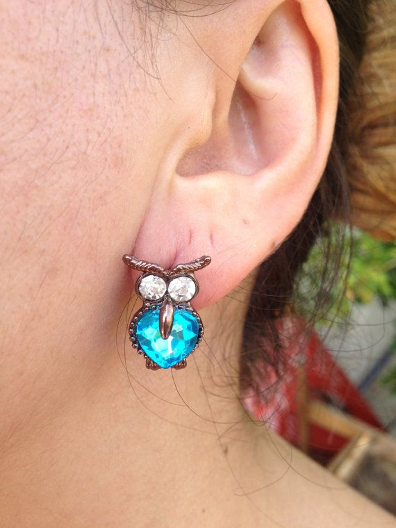 Earring, Owl Earrings, Turquoise  Earring, owl jewelry, Owl, Brass Owl, Brass Earring, gift for here