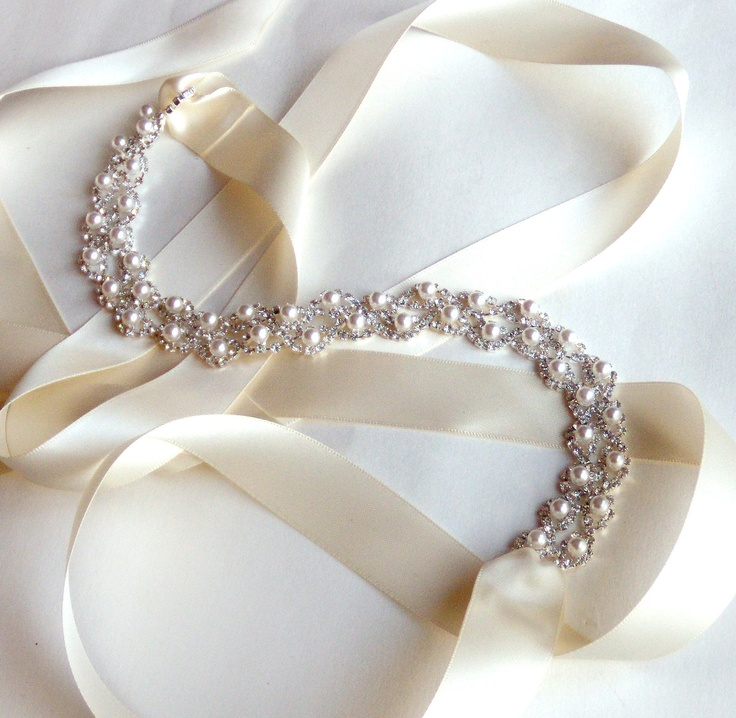 Crystal Pearl Weave Bridal Belt Sash Custom Ribbon White Or Ivory Silver Rhinestone