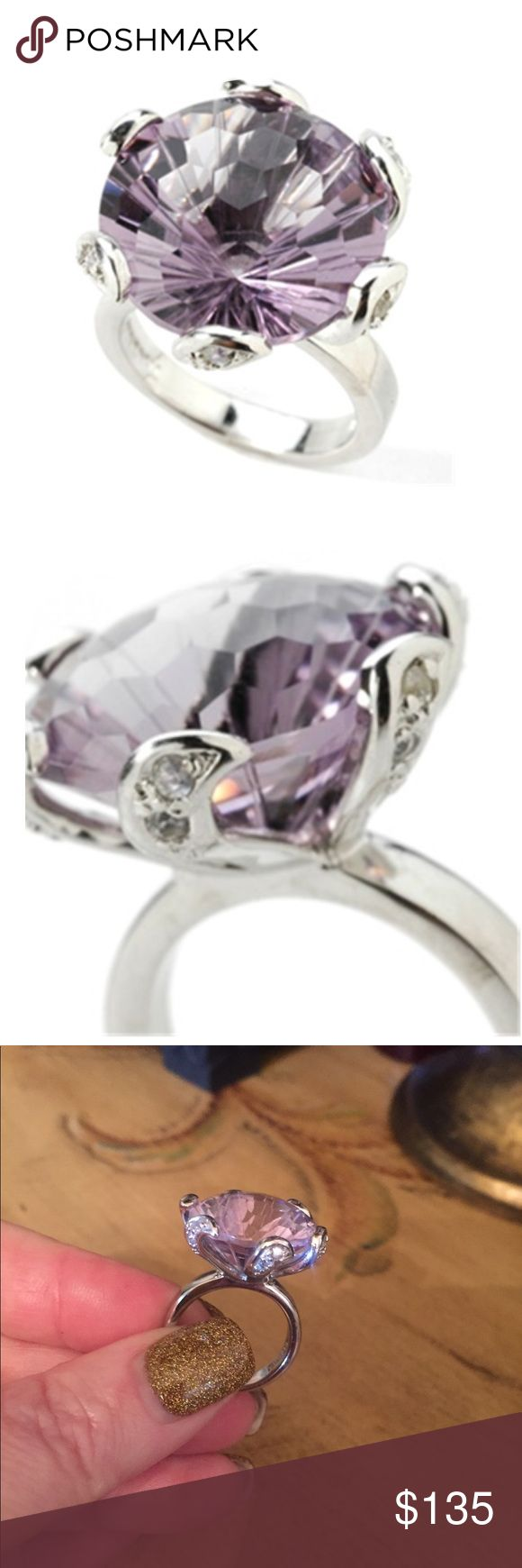 16 ct Rose de France amethyst Sterling silver ring Breathtaking beauty! 💜 features one round faceted cut rose-de-France amethyst. This is such a unique cut supreme Quality No comparison from what I've seen.  also has 12 round faceted cut zircons. zircon is known for its brilliance✨Zircon is a birthstone for December, along w turquoise & tanzanite. total amethyst weight is approx 16 ct 😱& the zircon weight is 0.36ct. The color is reminiscent of a lavender/lilac shade. works to lessen…
