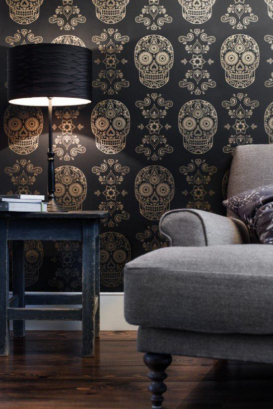 Day of the dead wallpaper!  OMG. Some day, when I have my very own home office, this wallpaper is going up!