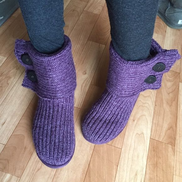 """Purple UGGs - knit Cardy Authentic UGGs • knit """"Cardy"""" uggs • 2 buttons on the side of each boot • perfect condition UGG Shoes"""