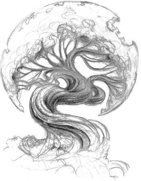 asian+tree+tattoo   Asian Oak Tree Tattoo Sketch