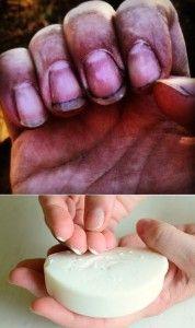schone nagels: schraap zeep onder je nagels VOORDAT je gaat tuinieren....