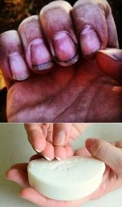 Scraping soap under your fingernails, will help you keep dirt out while gardening for easier washing after.