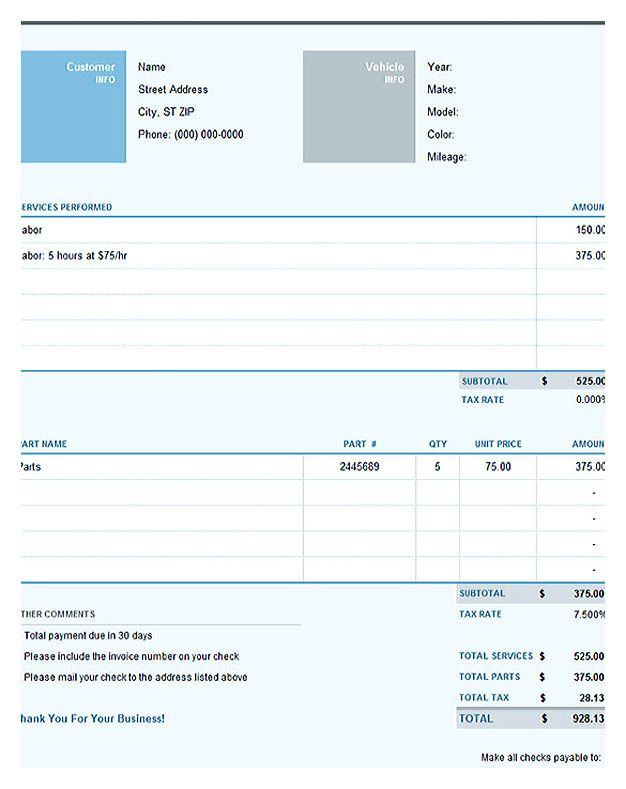 Auto Repair Excel Invoice Template Free Invoice Template Download You Can Customize As You Need The Invoice Template Invoice Template Word Invoice Layout