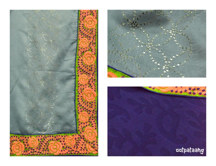 Chanderi dupatta with mukaish and thread work