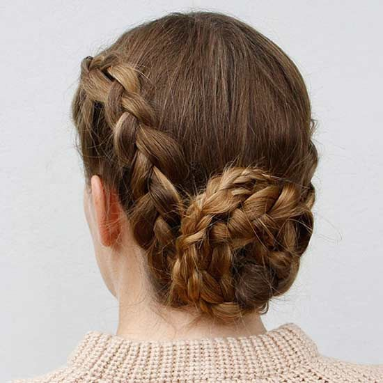 A reverse French braidÑalso known as a Dutch braidÑgives this braided chignon style its wow factor.