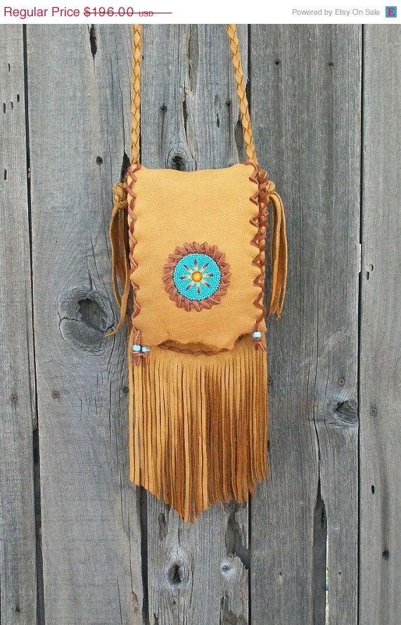 Beaded hippie purse   Fringed leather handbag  by thunderrose, $166.60