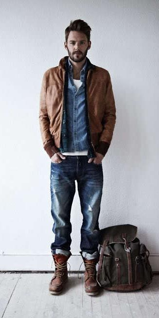 Brown leather bomber jacket. Denim shirt. White t-shirt. Jeans. Hefty boots. This would make me swoon!