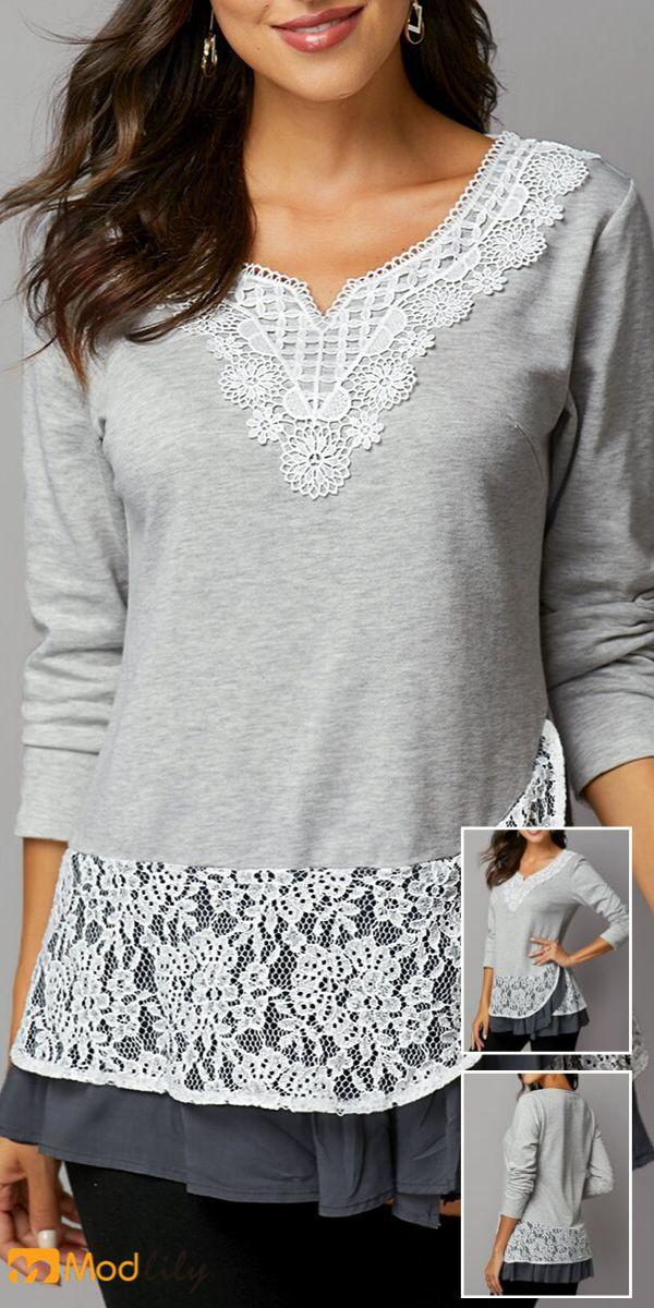 Lace Panel Layered Hem Light Grey T Shirt 17