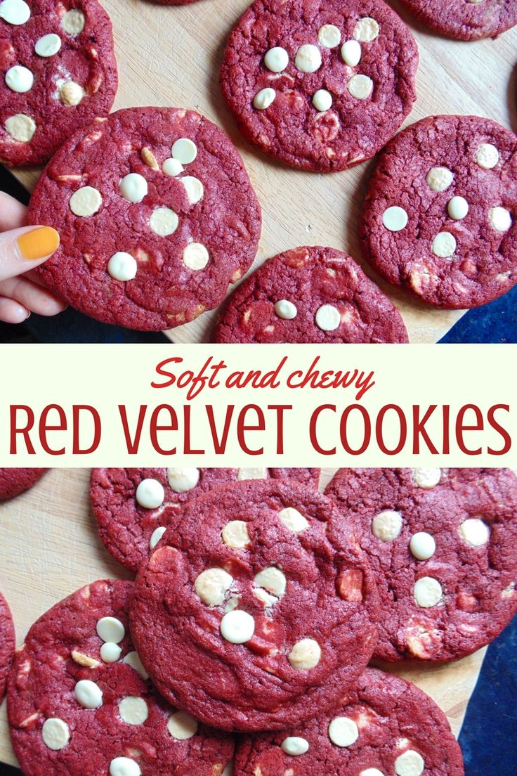 Red Velvet Cookies; crisp edges, soft centres, crammed creamy white chocolate. These cookies are perfect for Valentine's or any day!