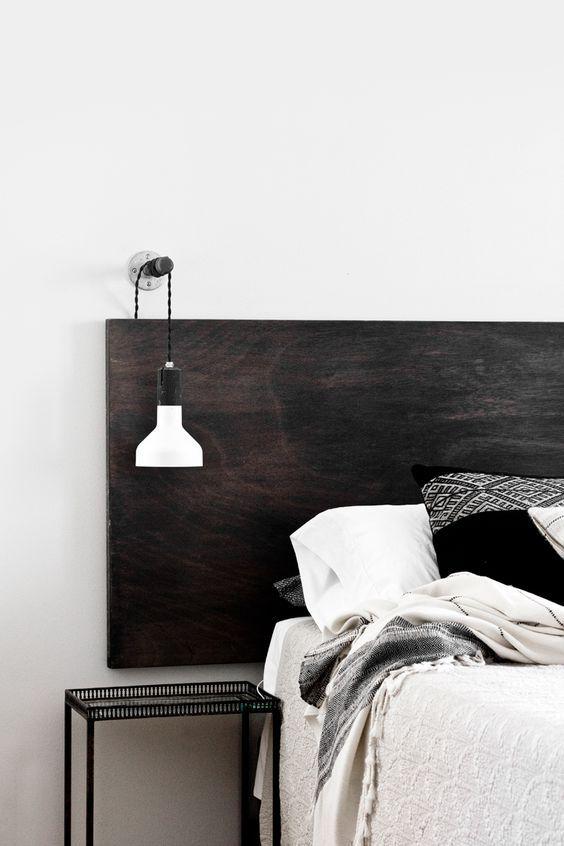 wood headboard in black