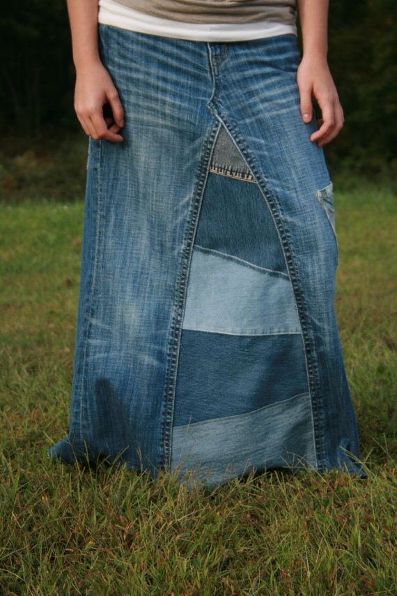 Ladies Long Jean Skirt Size 6 by whimsicaljeansnsuch on Etsy, $40.00