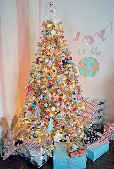 Everyday is a Holiday's pastel candy colored champagne Christmas tree.