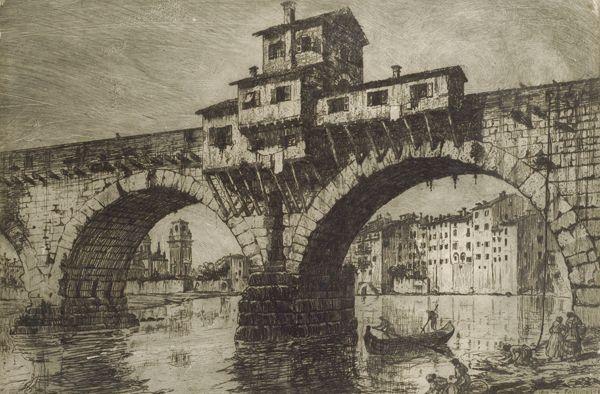 Fagiuoli E. : Ponte della pietra a Verona  (1916)  - Acquaforte - Asta Autori dell\'800 e 900 - Galleria Pananti Casa d\'Aste