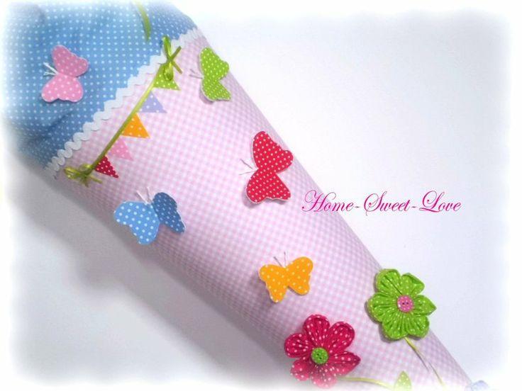 """Schultüte """" Schmetterlingszauber """" Blumen von Home-sweet-love auf DaWanda.com"""