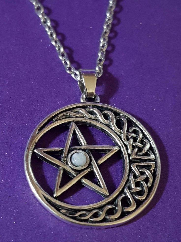 """Keltisch Mond und Stern Pentagramm Anhänger mit Echt Mondstein,Zinn,18"""" Kette c4"""