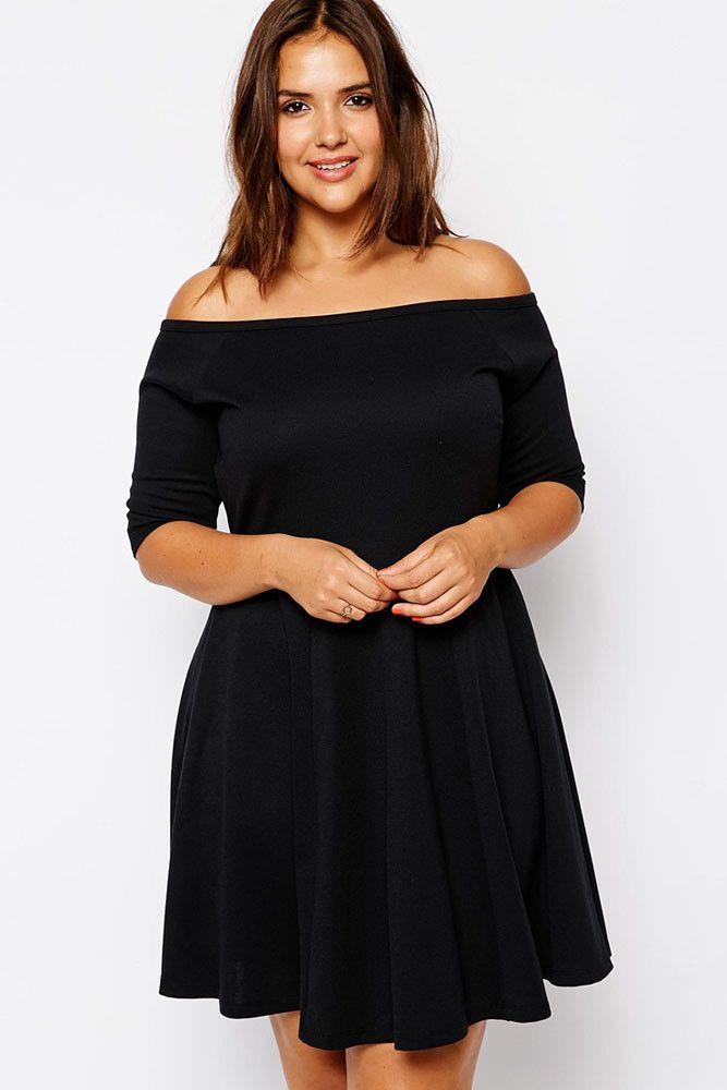 Boat Neck Fleshy Black Skater Dress LAVELIQ Material: Polyester+Spandex Size: Xxl,Xxxl Color: Black Style: Brief, Sexy Occasion: Autumn Pattern: Solid Neckline: Slash Neck Sleeve Length: Half Sleeve D