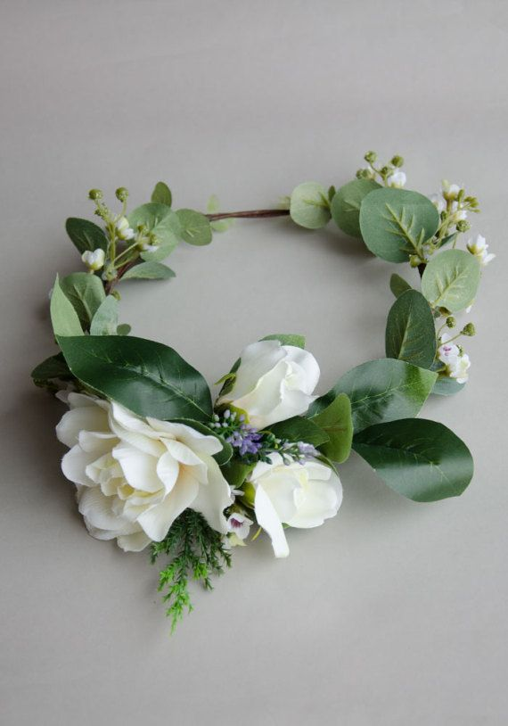 Gardenia and eucalyptus silk flower crown by IsabelleCreations24 This gorgeous gardenia silk flower hair crown is your perfect hair accessories on your wedding day. It is a full crown accented with lavender sprigs, pine leaves, bunches of wax flowers and eucalyptus greenery. It looks seamless as a natural crown. Now available at Etsy