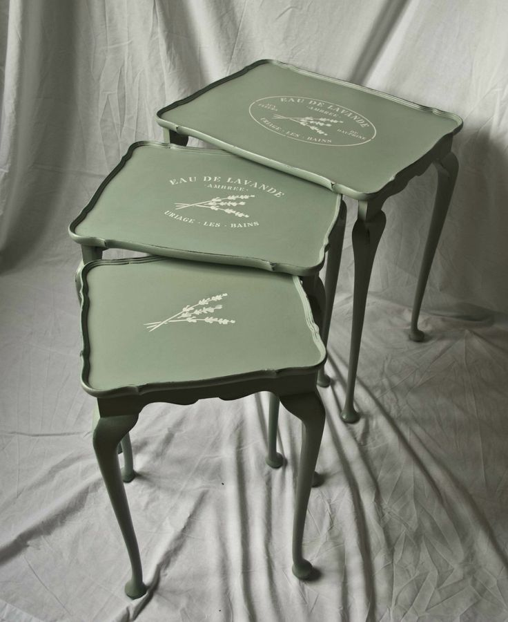 "Vintage Shabby Chic nest of tables - Annie Sloan's ""Duck Egg Blue"" 