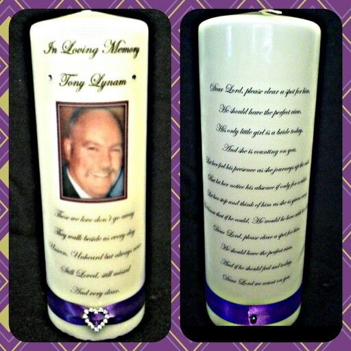 Remembrance candle with photo and both short and long poem. €18 https://m.facebook.com/personalised.candles.for.all.occasions