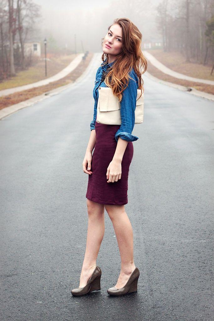 shirts and pencil skirts jean shirt maroon pencil